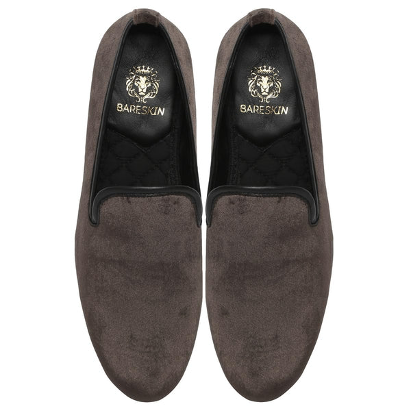 Plain Brown Velvet Men Slip Ons By Bareskin