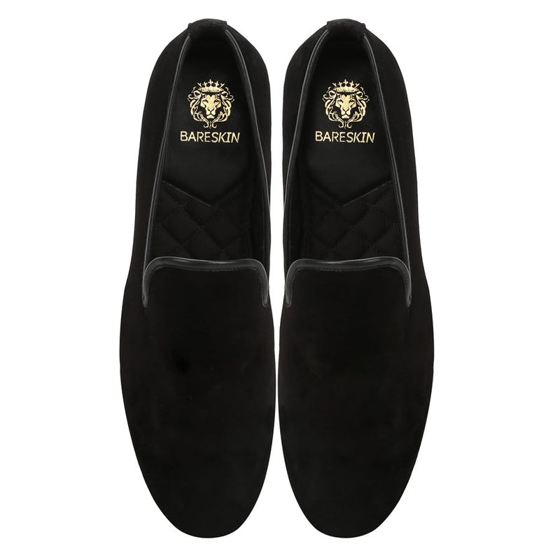 Plain Black Velvet Men Slip Ons By Bareskin