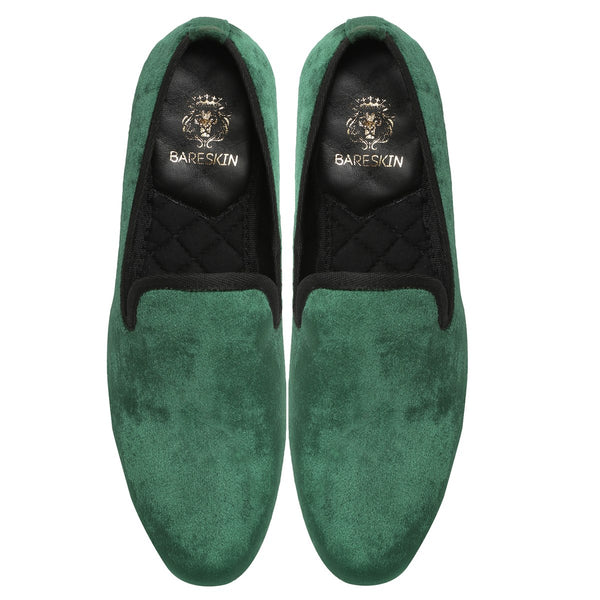 Plain Green Velvet Men Slip Ons By Bareskin