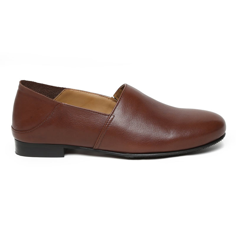 Dark Brown Leather Slip On By Bareskin