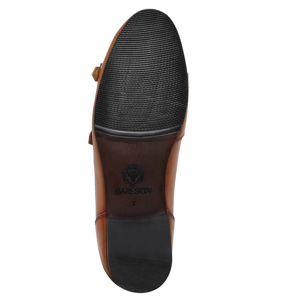 Tan Elastic Band Double Monk Slip On Shoe By Bareskin