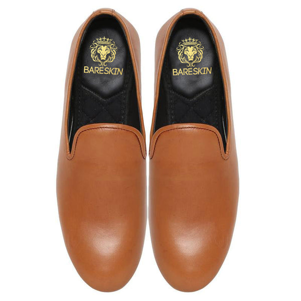 Tan Elegant Plain Leather Slip On By Bareskin