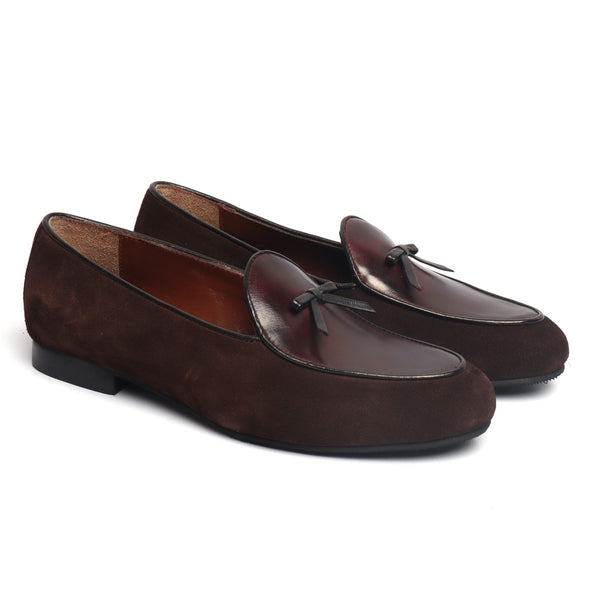 Suede Leather Flat Tassel Bow Brushed Off Slip-On by BARESKIN