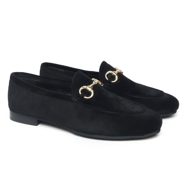 Black Velvet Horsebit Loafers By Brune