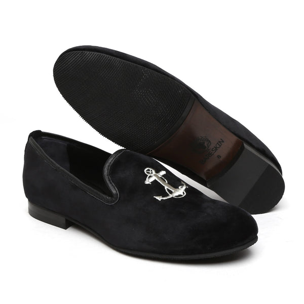 Black Velvet/Silver Anchor Embroidery Slip-On Shoes By Bareskin