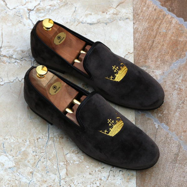 Grey Dual Shade Velvet/Golden Crown Embroidery Slip-On Shoes By Bareskin