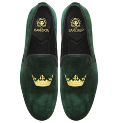Green Dual Shade Velvet/Golden Crown Embroidery Slip-On Shoes By Bareskin