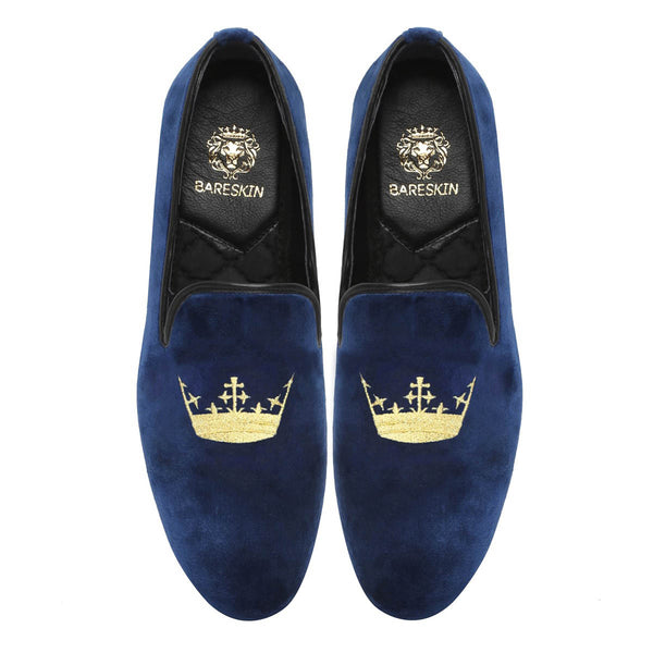 Blue Velvet/Golden Crown Embroidery Slip-On Shoes By Bareskin