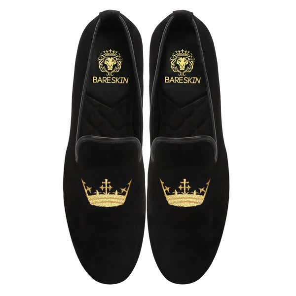 Black Velvet/Golden Crown Embroidery Slip-On Shoes By Bareskin