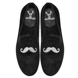 Mustache Design Men'S Handmade Black Velvet Slip-On By Bareskin