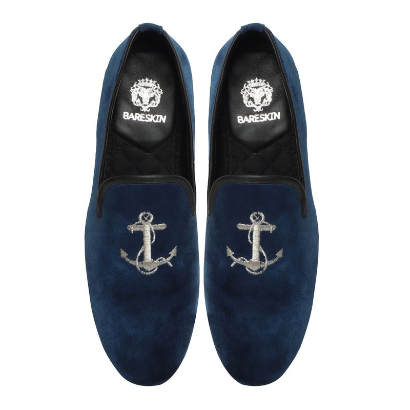 Blue Velvet/Silver Anchor Embroidery Slip-On Shoes By Bareskin