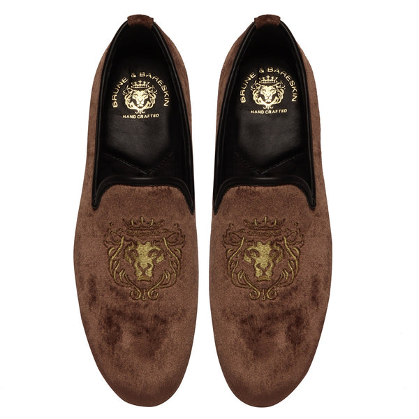 Copper Brown/Golden Lion King Embroidery Velvet Slip-On By Bareskin