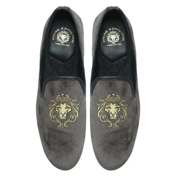 GREY/GOLDEN LION KING EMBROIDERY VELVET SLIP-ON BY BARESKIN