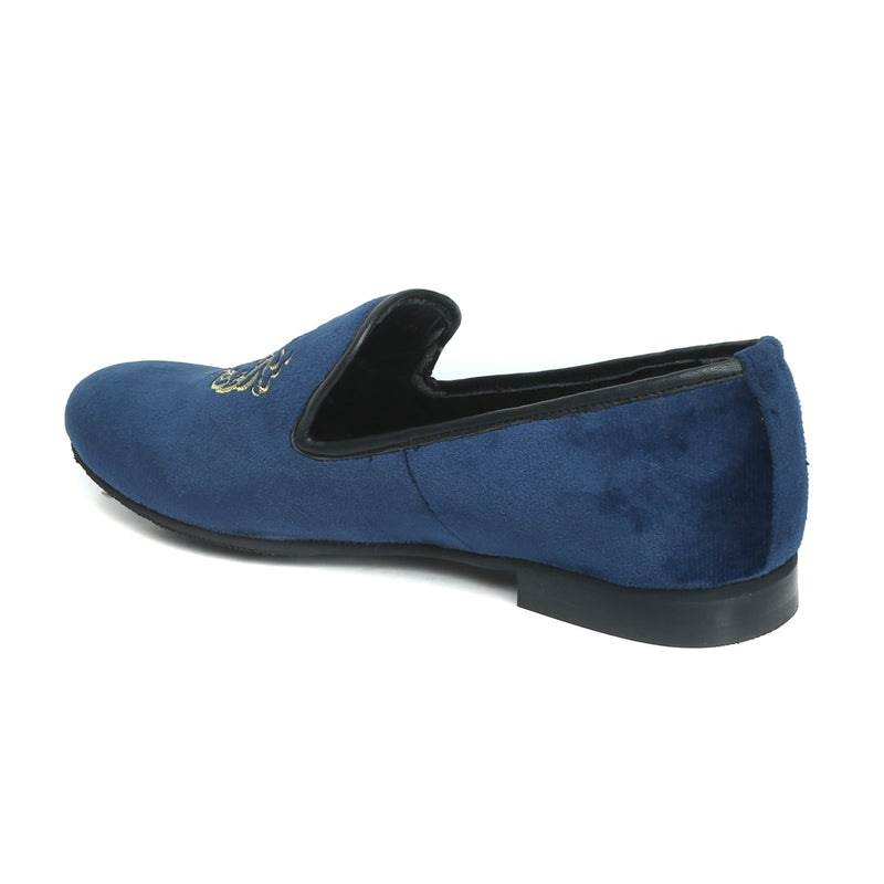 Navy Blue Velvet Lion-King Design Men'S Handmade Slip-On By Bareskin