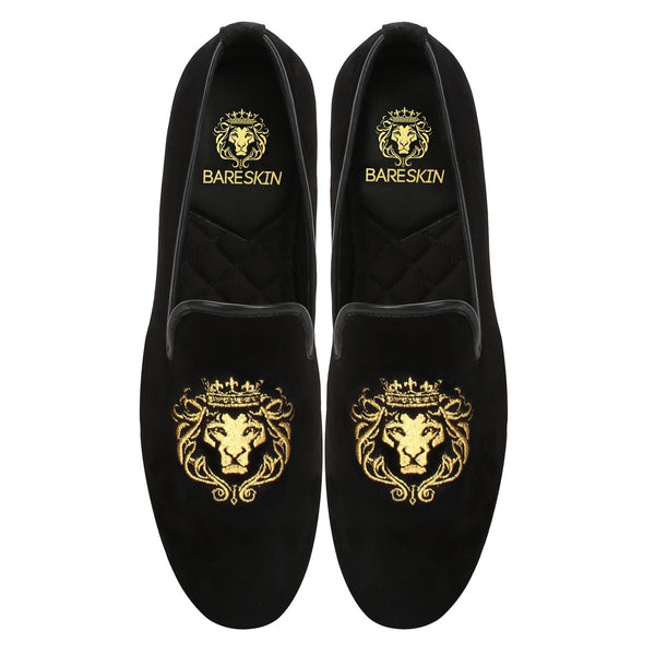 Black New Flat Sole Lion King Embroidery Slip-On Shoes By Bareskin