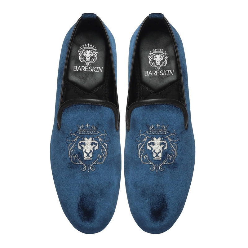 Blue Velvet/Silver Lion King Embroidery Slip-On Shoes By Bareskin