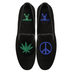 Black Velvet / Love & Peace Embroidery Slip-On Shoes By Bareskin