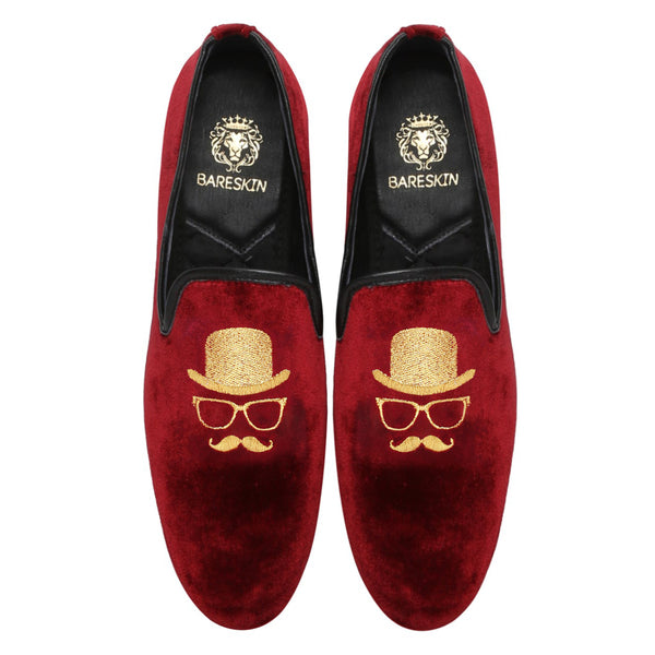 Maroon Velvet/Gentlemen Golden Embroidery Slip-On Shoes By Bareskin