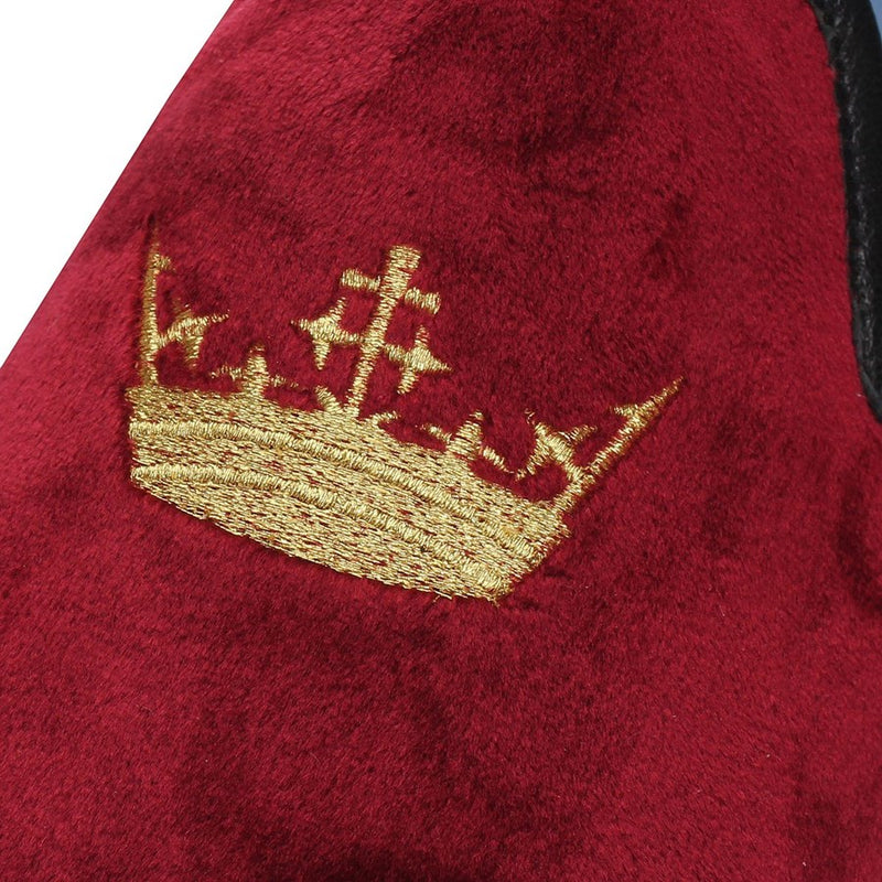 Maroon Velvet/Golden Crown Embroidery Slip-On Shoes By Bareskin