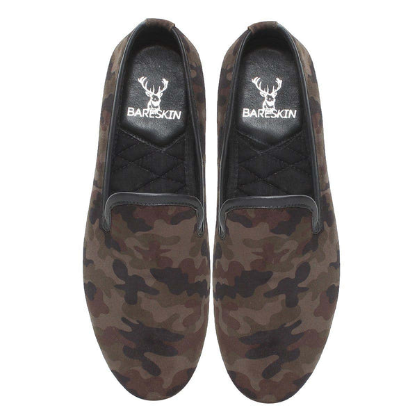 Bareskin Camouflage Print Olive Velvet/Leather Slip-On