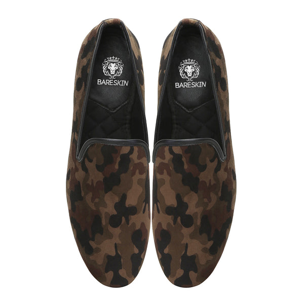 Brown Camouflage Print Velvet Slip-On Shoes By Bareskin