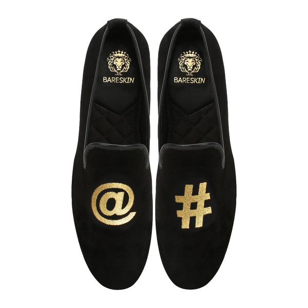 Black Velvet / At The Rate-Hashtag Embroidery Slip-On Shoes By Bareskin