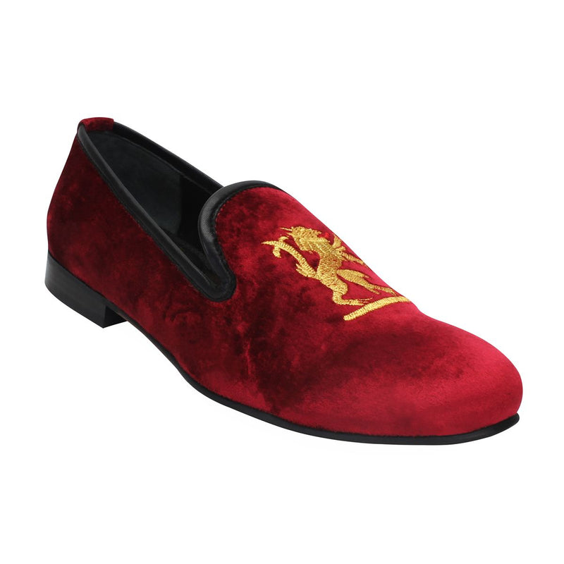 Maroon Velvet Slip-On Shoes With Golden Royal Design Embroidery By Bareskin