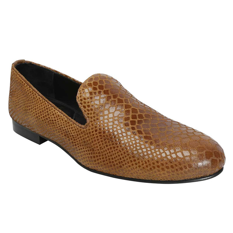 Tan Snake Print Leather Slip-On Shoes By Bareskin