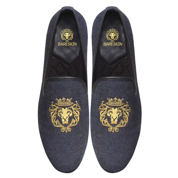 Charcoal Blue Denim/Golden Lion King Embroidery Slip-On Shoes By Bareskin