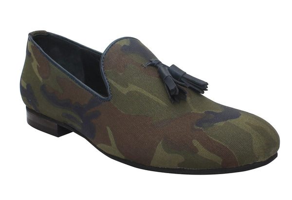 Camouflage Print Canvas/Blue Tassel Slip-On Shoes By Bareskin