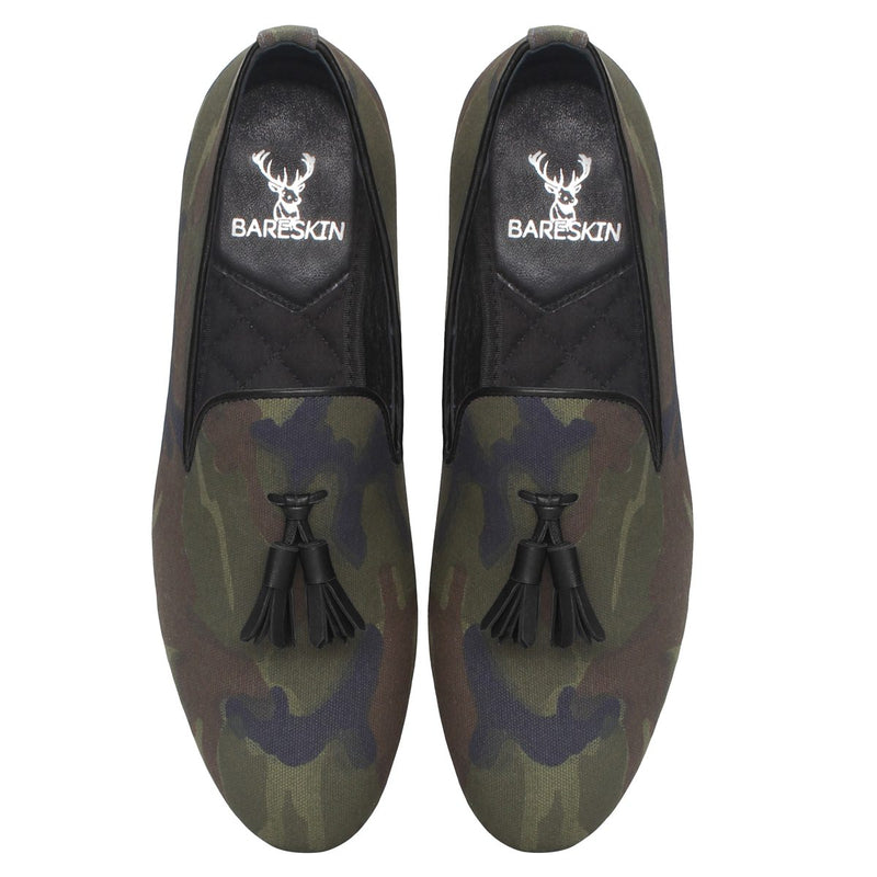 Camouflage Print Canvas/Black Tassel Slip-On Shoes By Bareskin