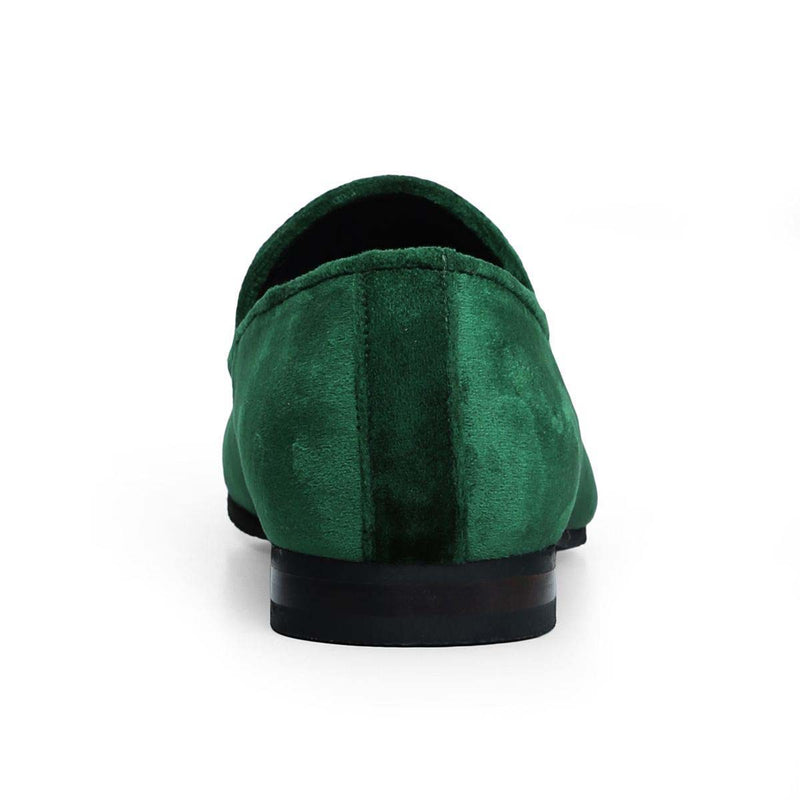 Green Dual Shade Velvet/Green Tassel Slip-On Shoes By Bareskin