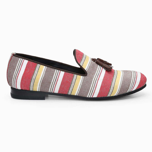 Multicolor Canvas / Brown Tassel Slip-On Shoes By Bareskin