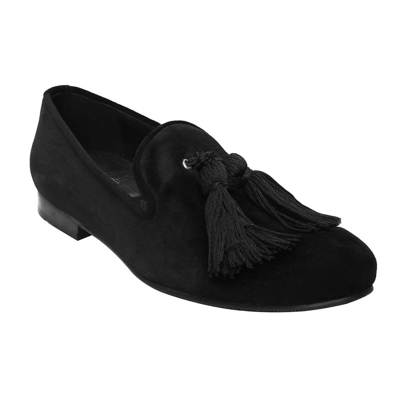 Black Velvet/Black Tassel Slip-On Shoes By Bareskin