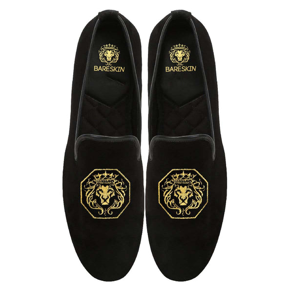 Octagon Lion Black Velvet Slip On By Bareskin