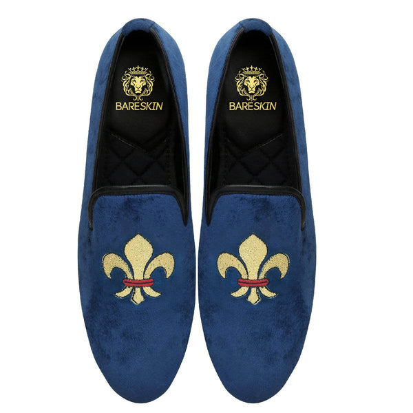 Fleur De Lis Blue Velvet Slip On By Bareskin