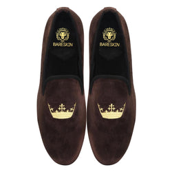 Copper Brown New Flat Sole Golden Crown Embroidery Velvet Slip-On Shoes By Bareskin