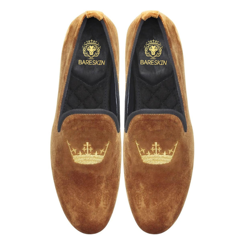 Tan Color New Flat Sole Golden Crown Embroidery Velvet Slip-On Shoes By Bareskin