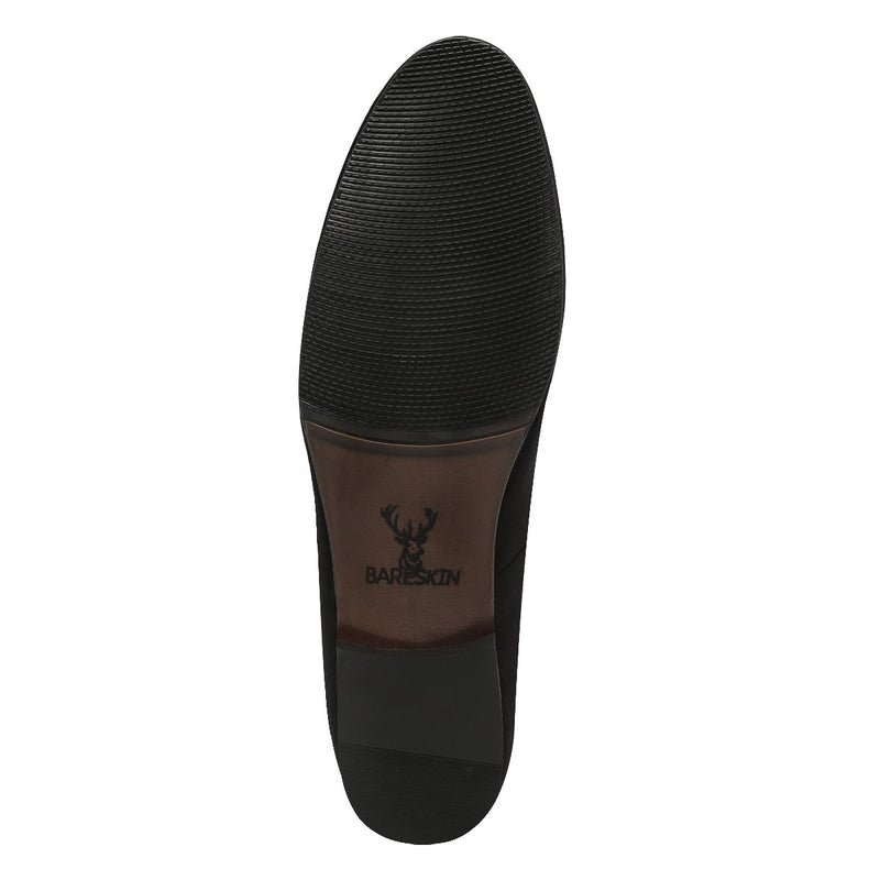 Octagon Skull & Bones Black Velvet Slip On By Bareskin