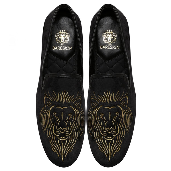 Golden Barbary Lion Black Velvet Slip Ons By Bareskin