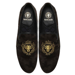 Camouflage Golden Lion Embroidery Velvet Slip-On By Bareskin
