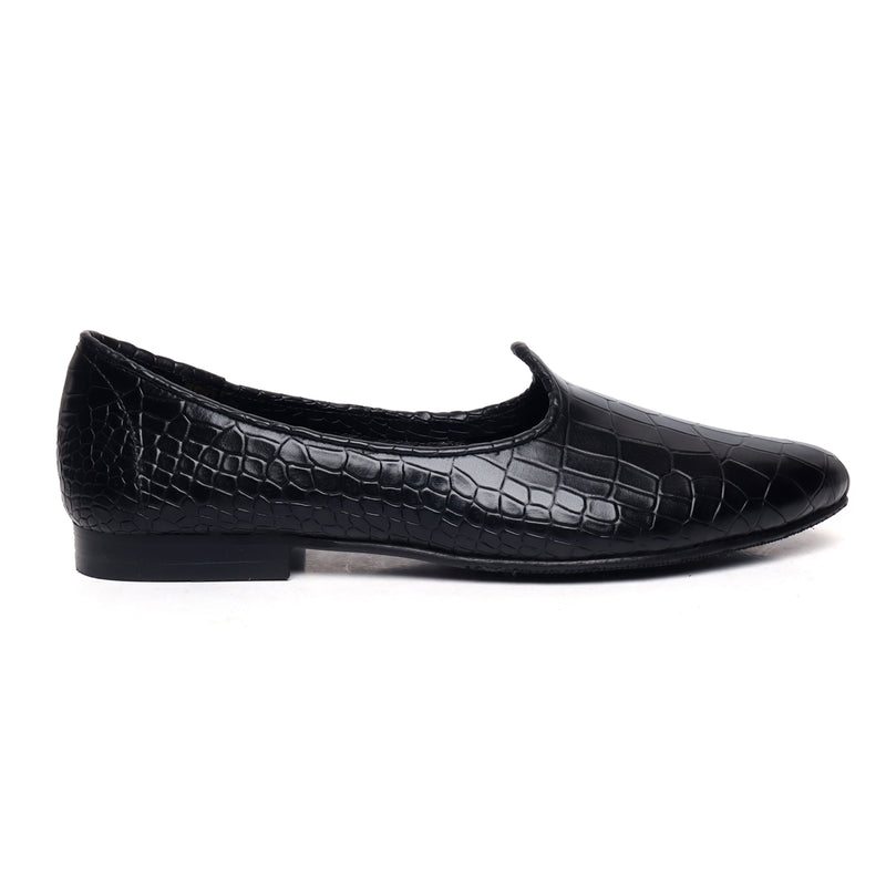 Black Deep Croco Design Cut Leather Jalsa By Bareskin