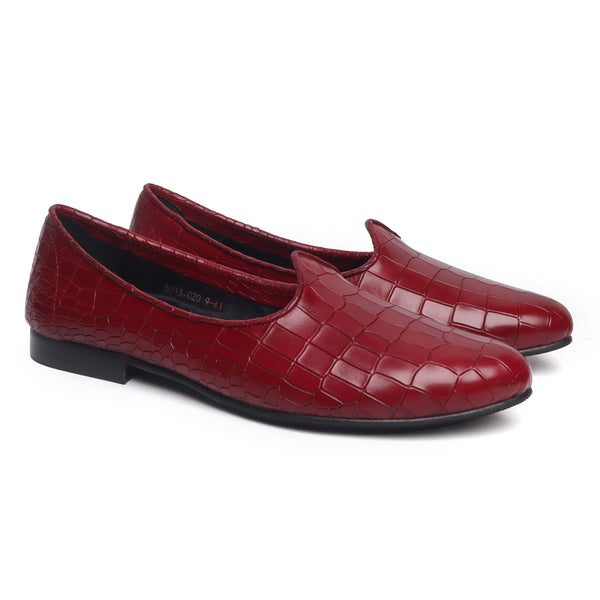 Wine Deep Croco Design Cut Leather Jalsa by Brune & Bareskin