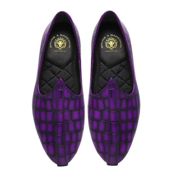 Purple Deep Cut Croco Leather With Darker Cuts Jalsa Jutti by Brune & Bareskin