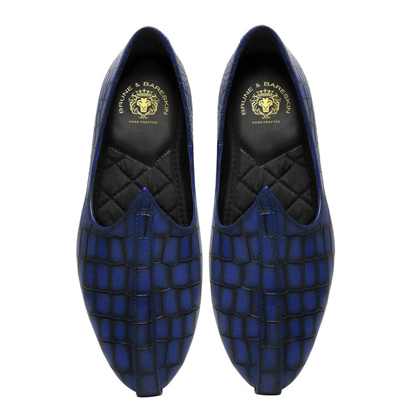 Blue Handpainted Deep Cut Croco leather Jalsa Jutti by Brune & Bareskin