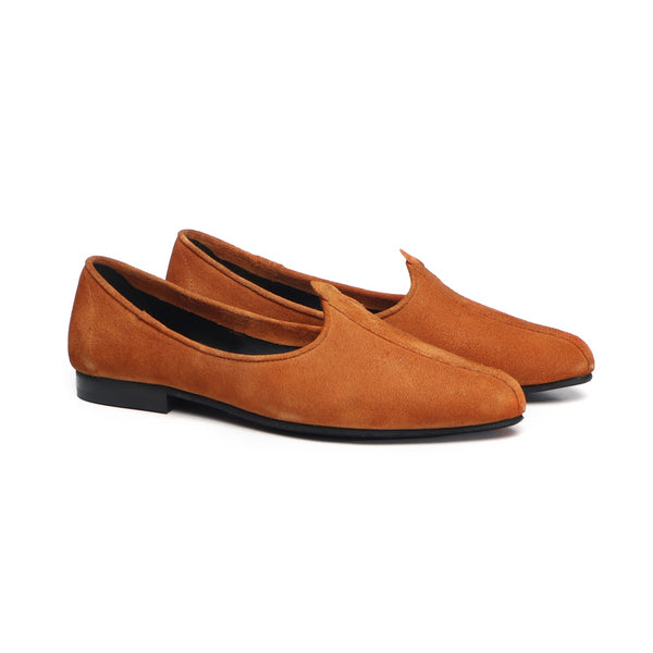Orange Suede Leather Jalsa Jutti By Bareskin