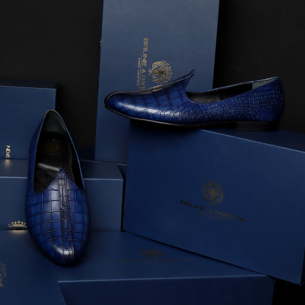 Deep Cut Croco Blue Leather Jalsa Jutti by Brune & Bareskin