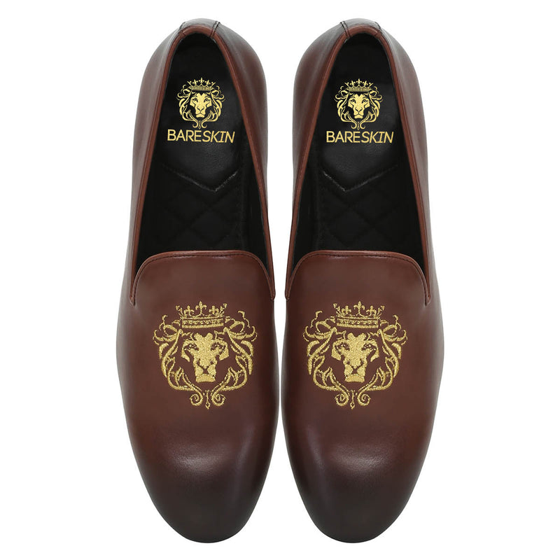 Brown Leather/Golden Lion King Embroidery Slip-On Shoes By Bareskin