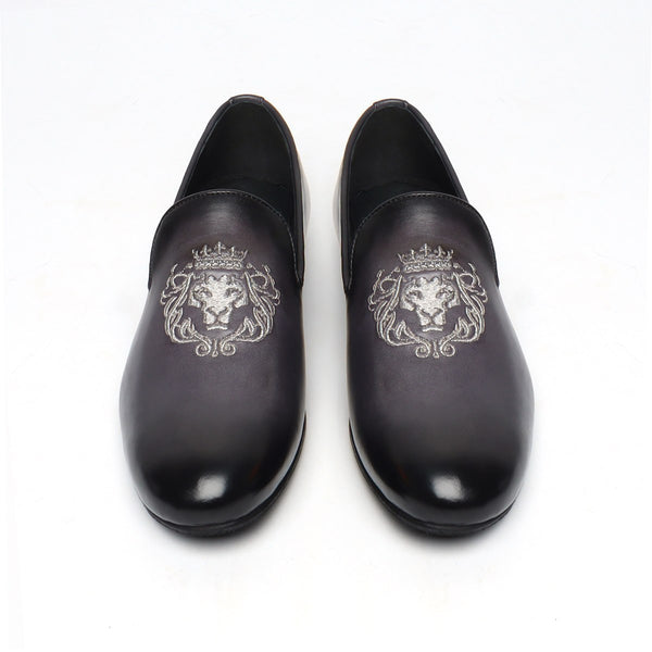 Grey Leather/Silver Lion King Embroidery Slip-On Shoes By Bareskin
