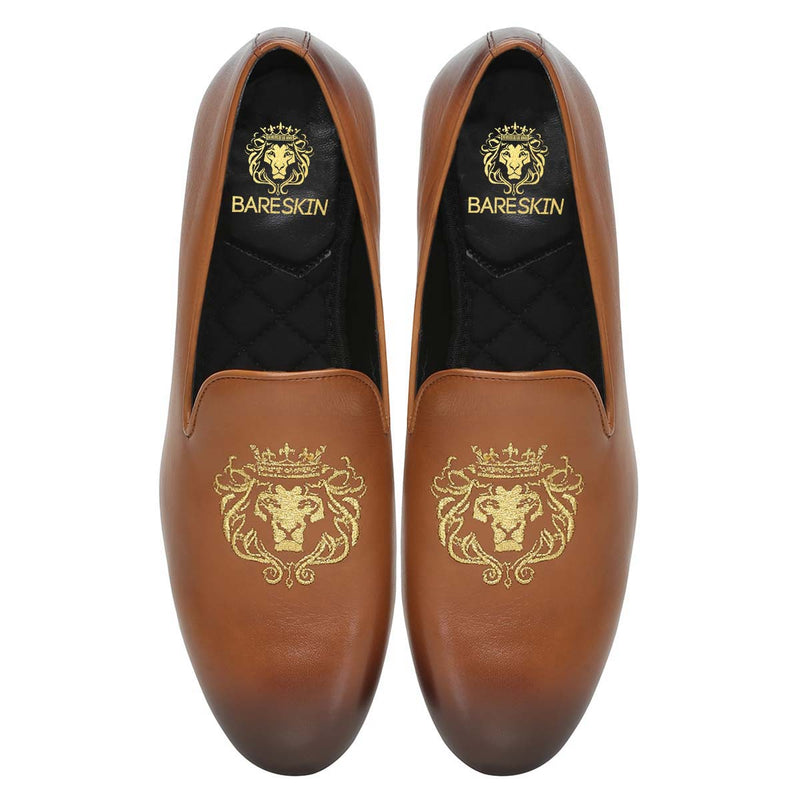 Tan Leather/Golden Lion King Embroidery Slip-On Shoes By Bareskin